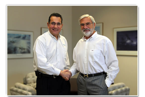 Paul DeHerrera, newly appointed CEO and J.L. (Ted) Naimer, President and Chairman of the Board, Universal Avionics