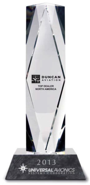 Universal Avionics Announces Duncan Aviation as 2013 Top Dealer North America for Second Consecutive Year