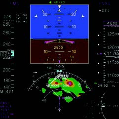 Primary Flight Display with         120º Map View and Radar