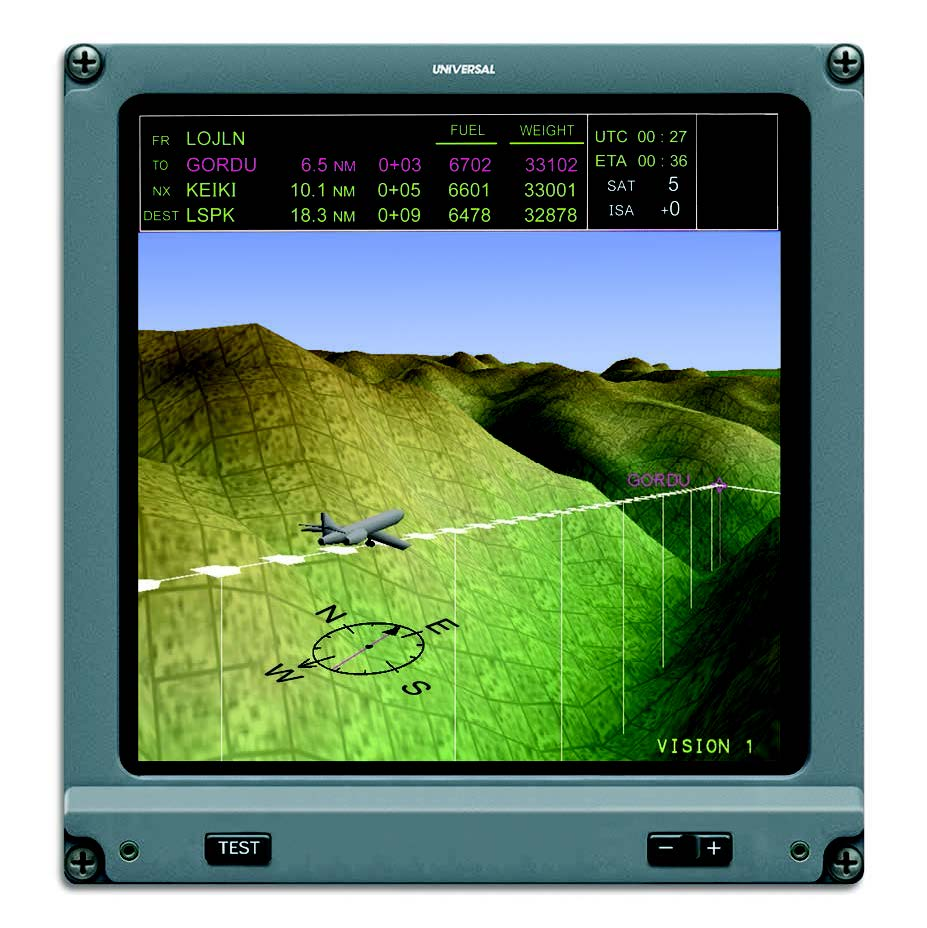 Nav Display with Synthetic Vision and TAWS