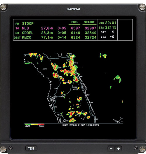 Hi-Res Weather graphics displayed on an EFI-890R Nav Display.